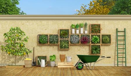 jardin vertical en pared de piedra