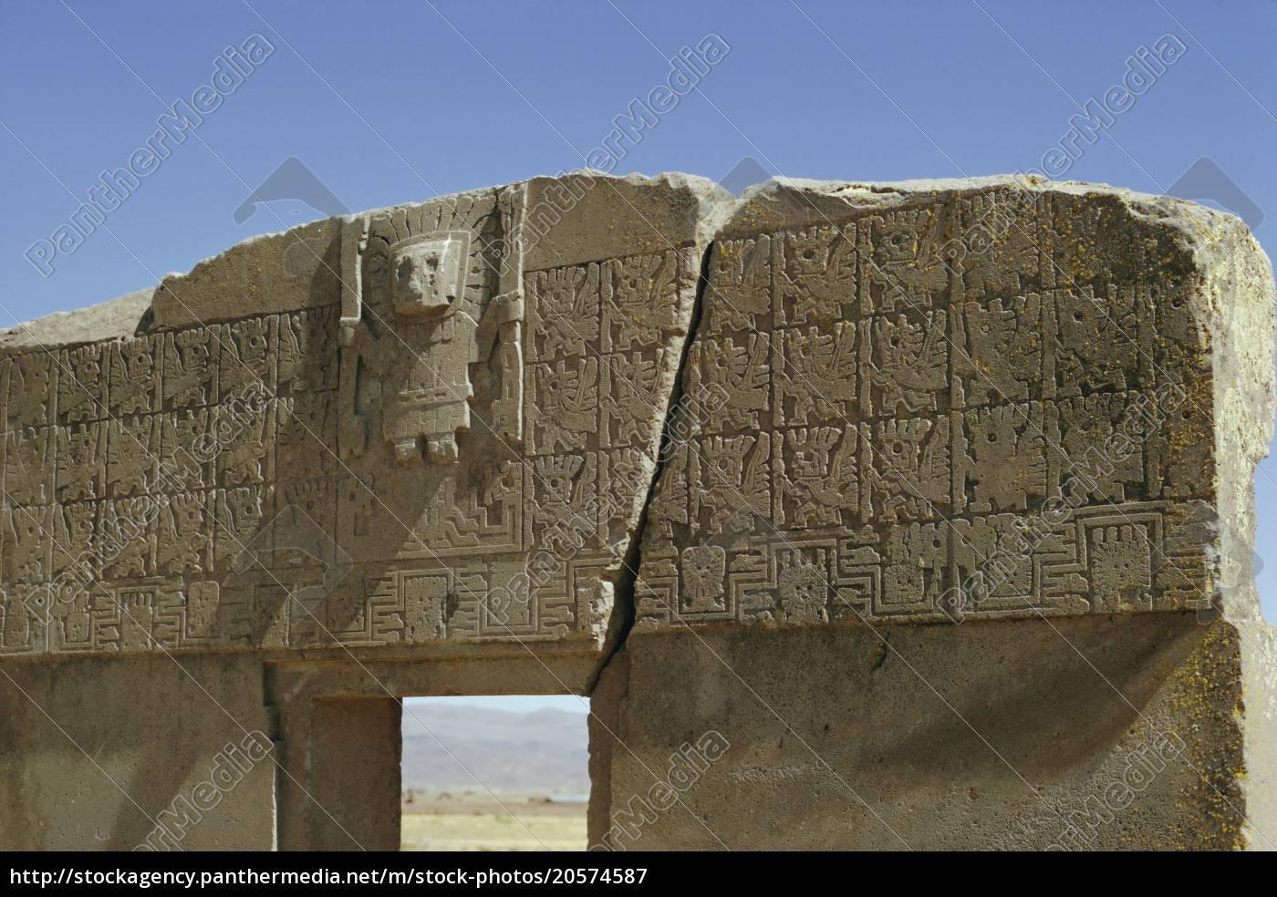 das, sonnentor, aymara-kultur, 600, anzeige, archäologische, fundstätte, tiahuanaco, bolivien, südamerika - 20574587