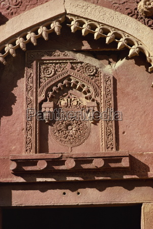 detail of carving red fort agra