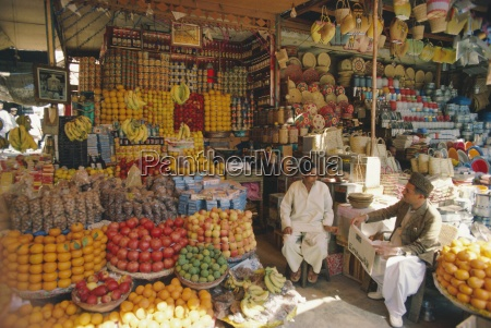 fruit and basketware stalls in the
