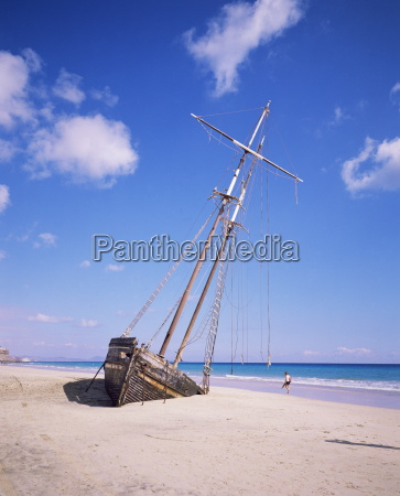 shipwreck on the beach on south
