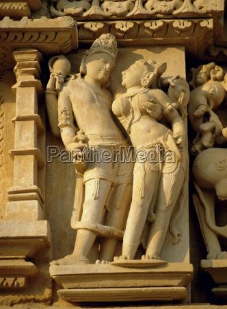 vishnu and lakshami sculptures on the