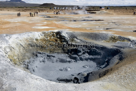 boiling mud pool namafjall geothermal area