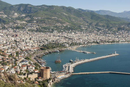 harbour seen from kale fortress alanya