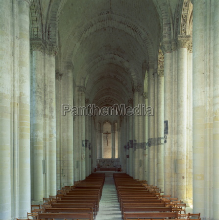 interior of 12th century romanesque church