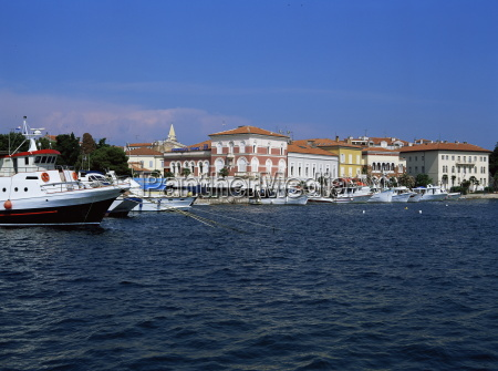 view of town over harbour porec