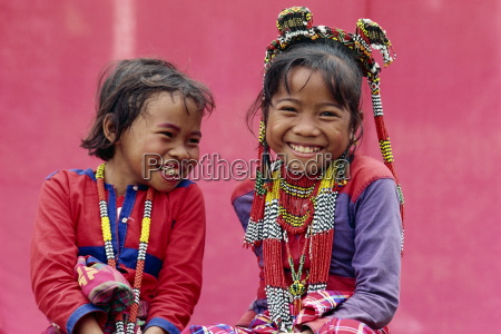 portrait of two smiling children of