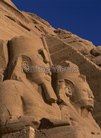 close up of statues of pharaoh