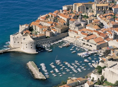 aerial view old town dubrovnik unesco