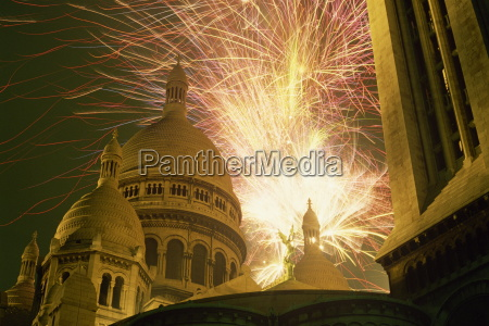 fireworks over the sacre coeur montmartre