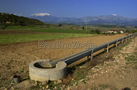 irrigation channel in countryside near kursunlu