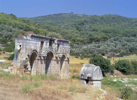 triple gateway at lycian ruins patara