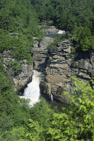 aerial view over linville falls on