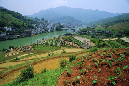 rice paddies and brick maker at