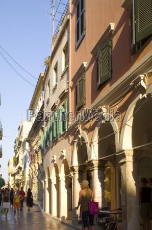 arcades along a street in corfu