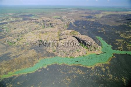 aerial of a billabong the backwater