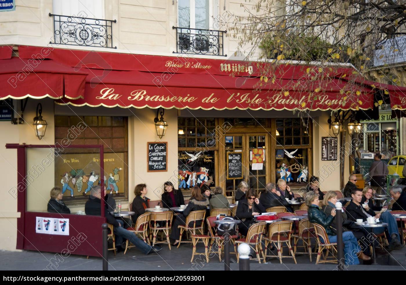 menschen, sitzen, vor, einer, brasserie, auf - 20593001