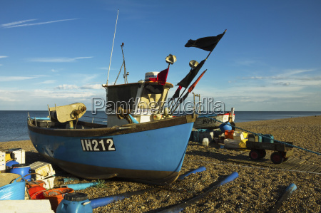 fishing boat and nets on the