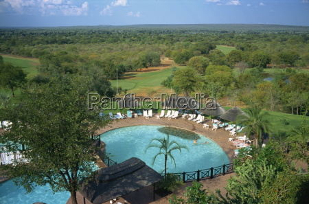 aerial view over elephant hills hotel