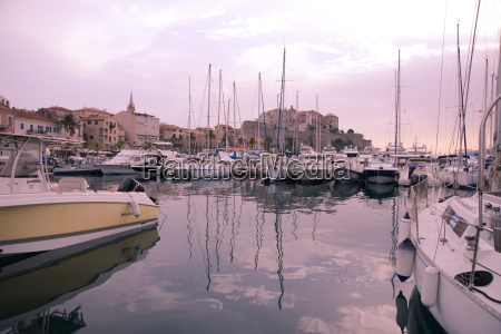 yachts in the harbour below the