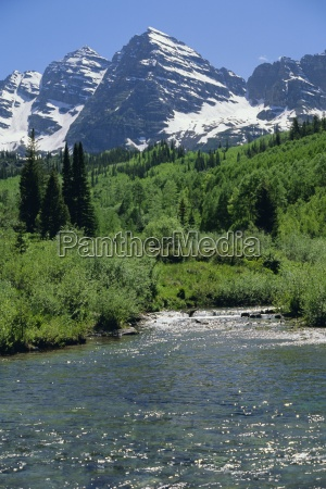 maroon bells seen from stream rushing