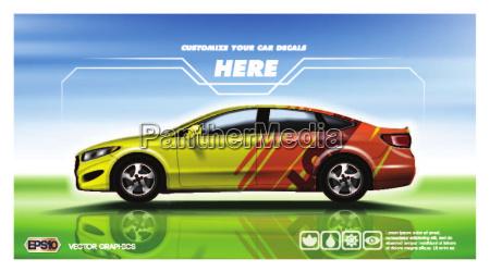 digital vector yellow and red sedan