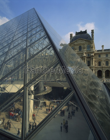 the pyramide and palais du louvre