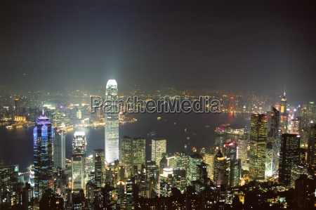 hong kong skyline by night from