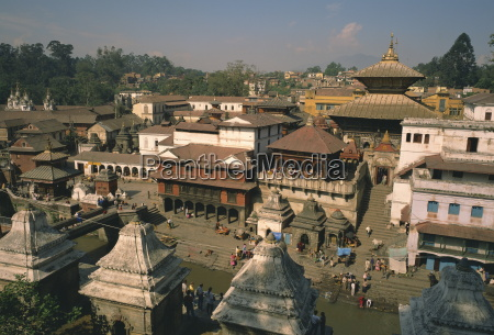 view over the pashupatinath temple in