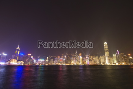 light show over hong kong island