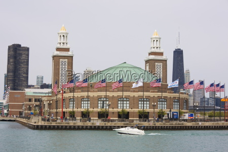 navy pier from lake michigan chicago