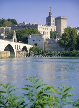 view across river rhone to bridge