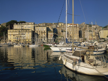 boats moored in harbour bastia corsica
