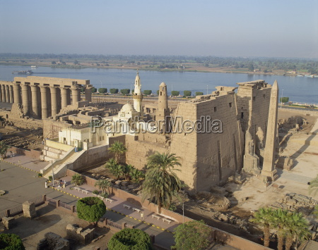 aerial view over the luxor temple