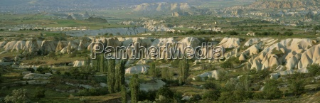 panoramic view of tufa formations near