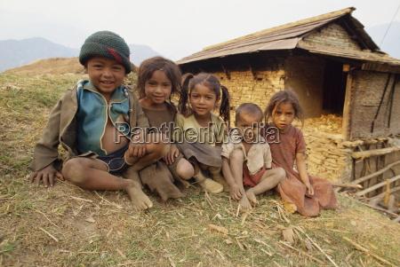 portrait of young children gandruk nepal