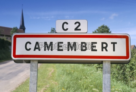village sign camembert normandy france europe