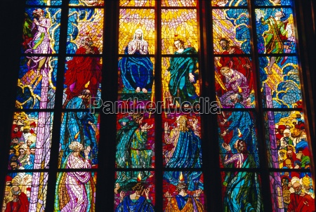 stained glass window st vitus cathedral