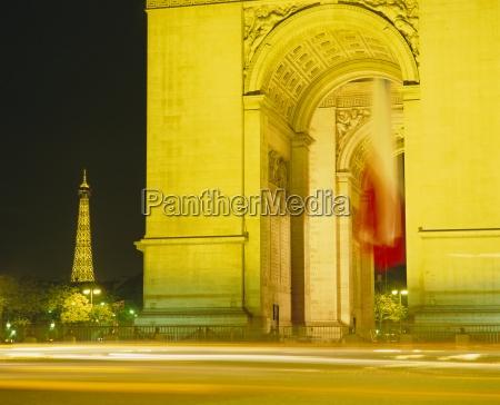 arc de triomphe and eiffel tower