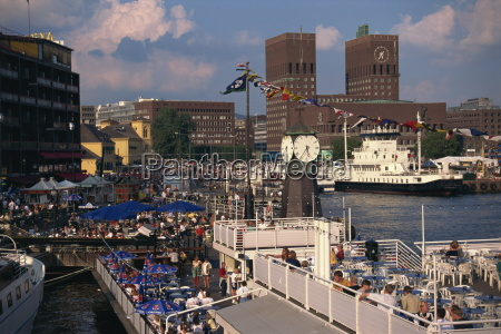 open air restaurants around harbour with