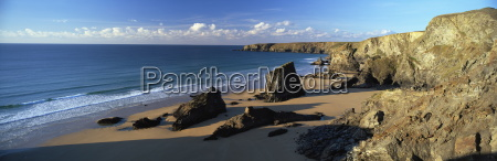 view of bedruthan steps and beach