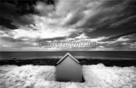 infrared image of hut in dunes