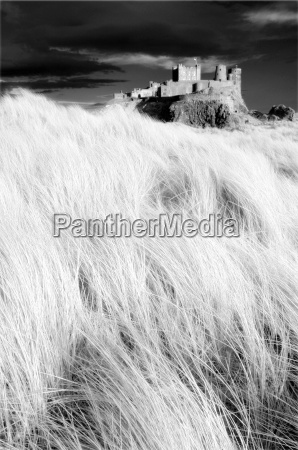 infrared image of bamburgh castle from