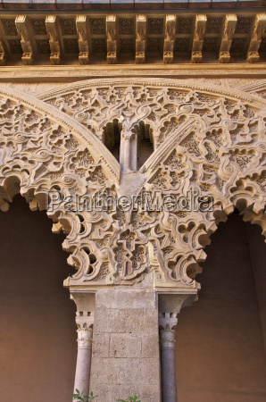 detail of plaster decor in the