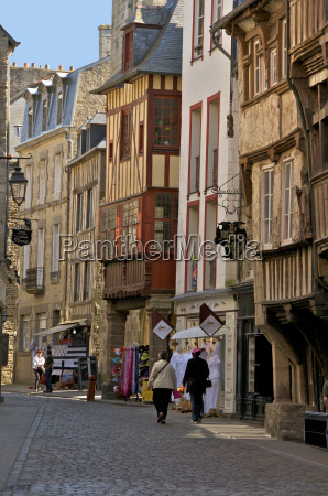 medieval half timbered houses in streets