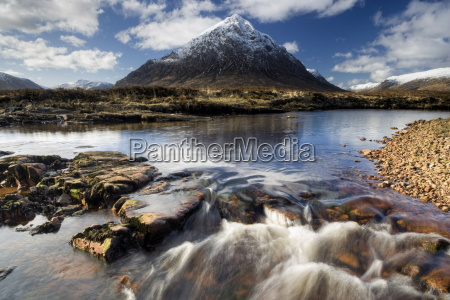 winter view over river etive towards