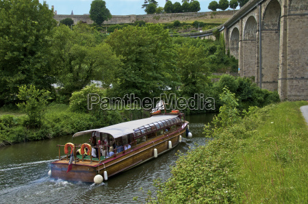 tourists boat on river rance and