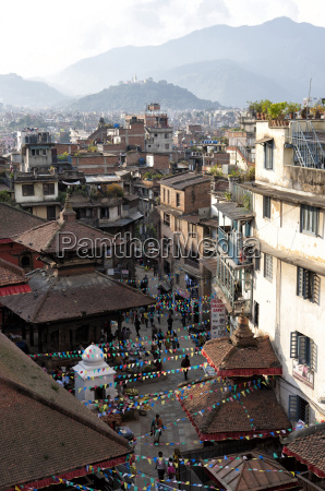 view over narrow streets and rooftops