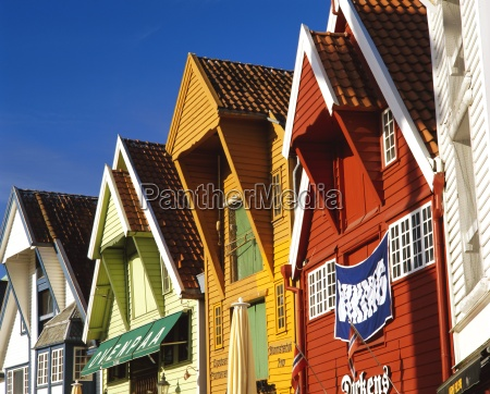 old wooden buildings along skagenkaien stavanger