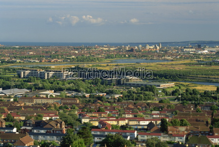 aerial view from portsdown hill of